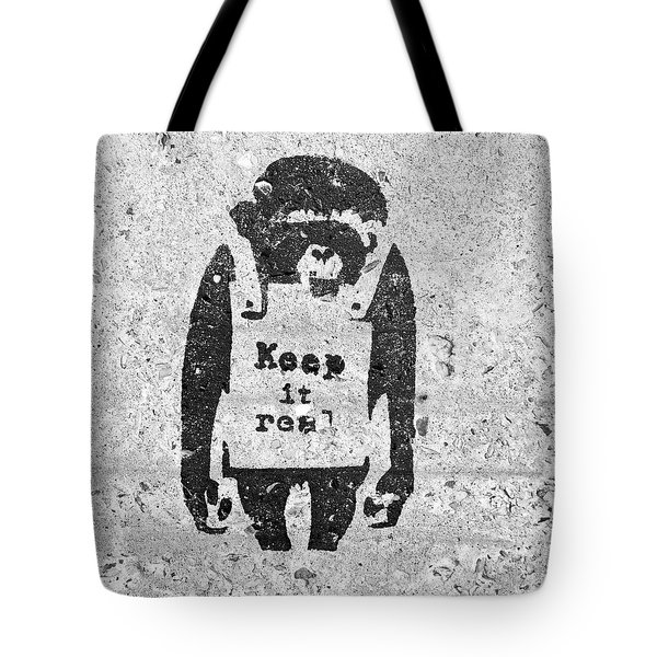 Banksy Chimp Keep It Real Tote Bag