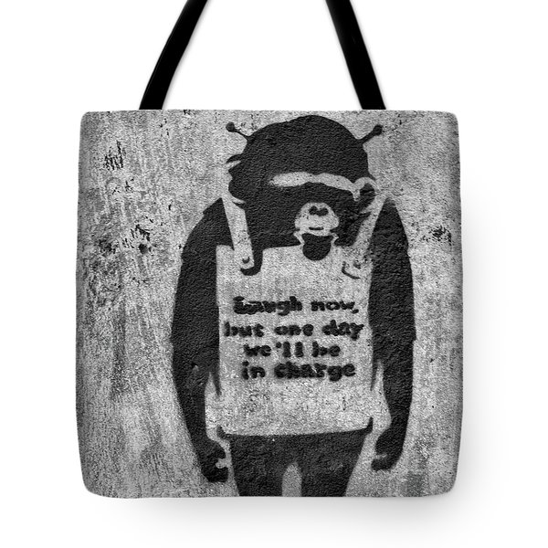 Banksy Chimp Laugh Now Graffiti Tote Bag