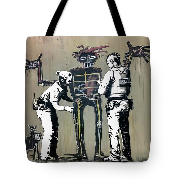 Tote Bag featuring the photograph Banksy Coppers Pat Down by Gigi Ebert