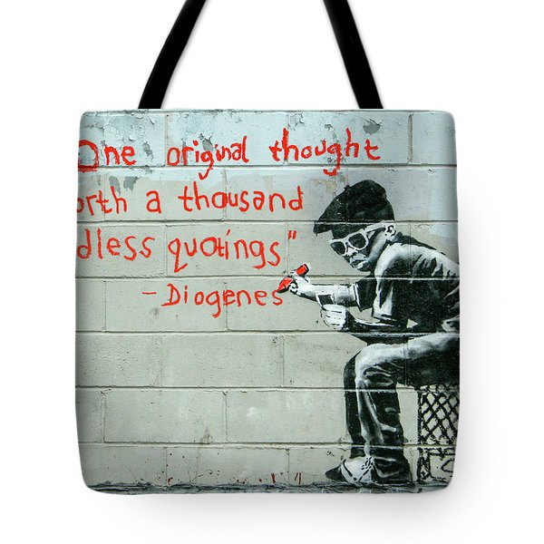 Tote Bag featuring the photograph Banksy Diogenes by Gigi Ebert
