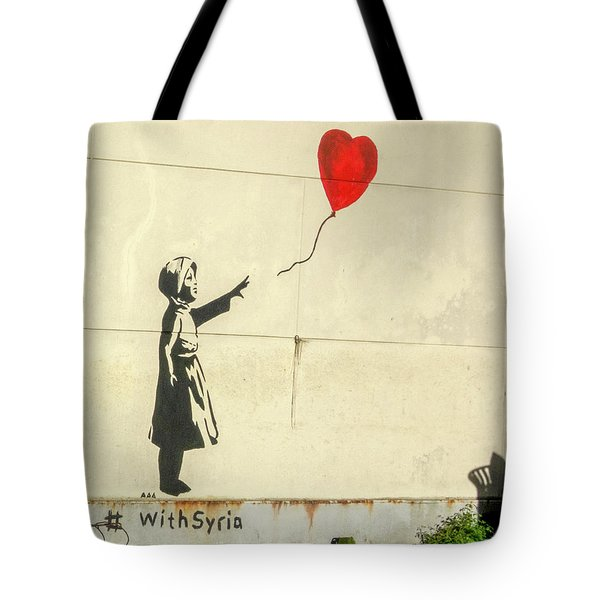 Banksy Girl With Balloon With Syria Tote Bag