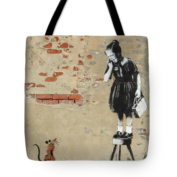 Banksy New Orleans Girl And Mouse Tote Bag