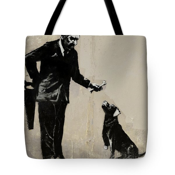 Banksy Paris Man With Bone And Dog Tote Bag