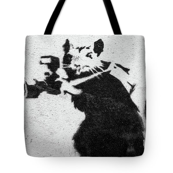 Tote Bag featuring the photograph Banksy Rat With Camera by Gigi Ebert