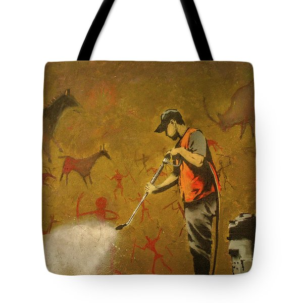 Tote Bag featuring the photograph Banksy's Cave Painting Cleaner by Gigi Ebert