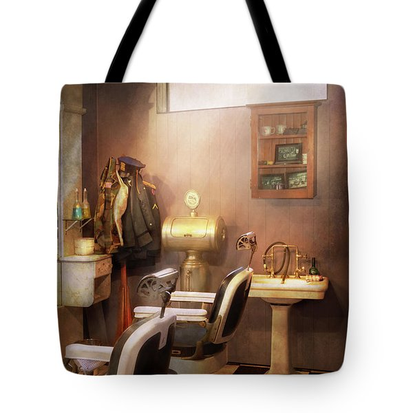 Tote Bag featuring the photograph Barber - Basement Barber by Mike Savad
