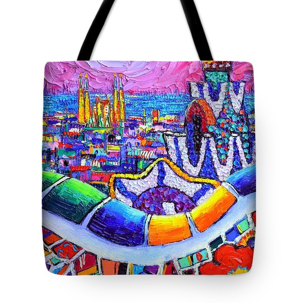 Barcelona Park Guell Colorful Night Textural Impasto Knife Oil Painting Abstract Ana Maria Edulescu Tote Bag