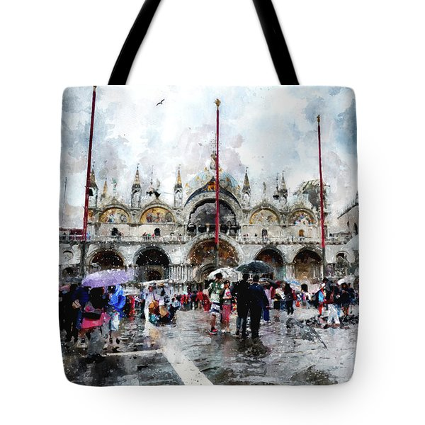 Basilica Of Saint Mark In Venice, Italy - Watercolor Effect Tote Bag