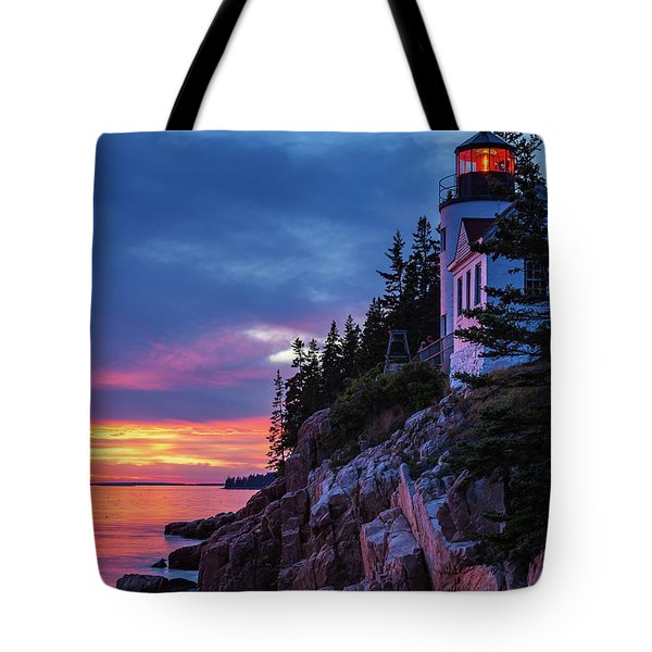 Bass Harbor Head Lighthouse At Twilight Tote Bag