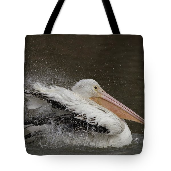 Bathing Pelican Tote Bag