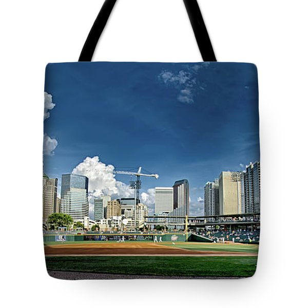 Bbt Baseball Charlotte Nc Knights Baseball Stadium And City Skyl Tote Bag