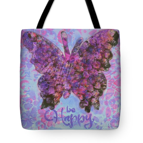 Be Happy 2 Butterfly Tote Bag