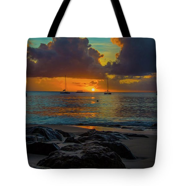 Beach At Sunset Tote Bag