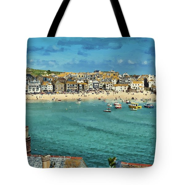 Beach From Across Bay St. Ives, Cornwall, England Tote Bag