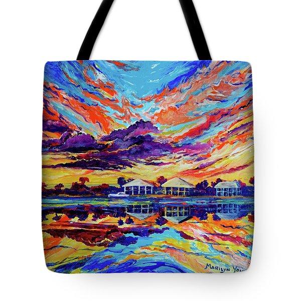 Beach House Reflections Fluid Acrylic Tote Bag