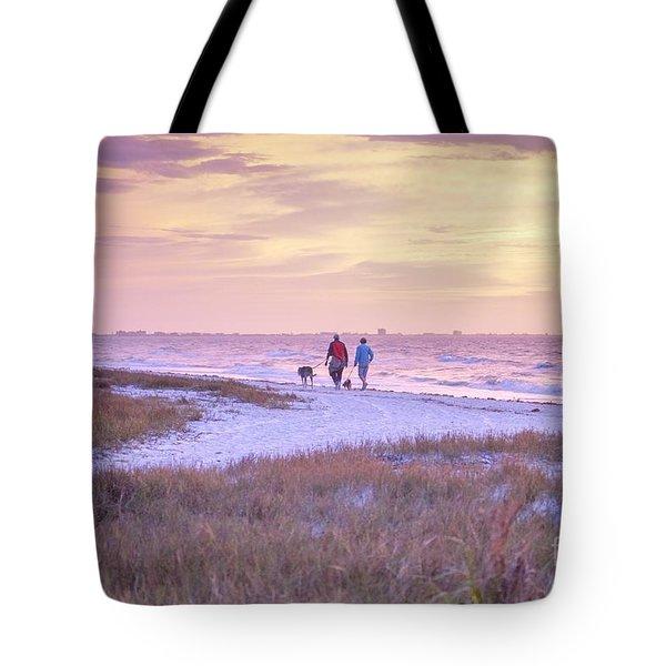 Sunrise Stroll On The Beach Tote Bag