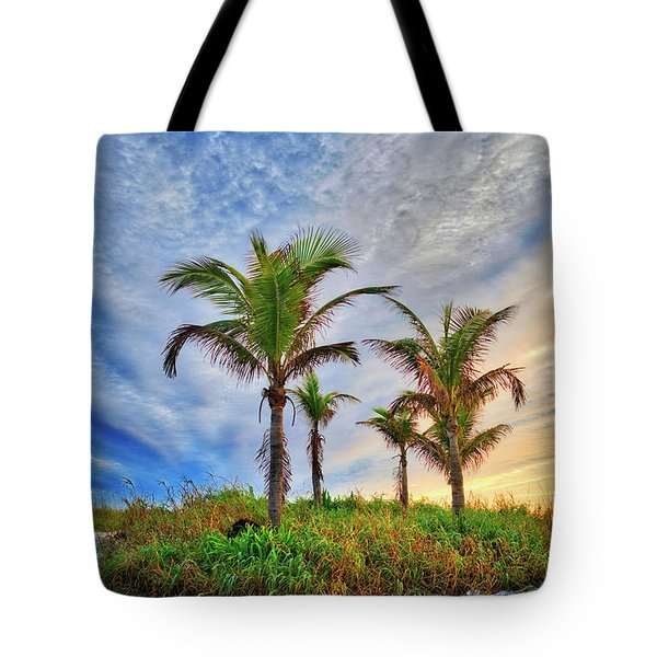 Tote Bag featuring the photograph Beach Sunrise Over The Palms by Lynn Bauer