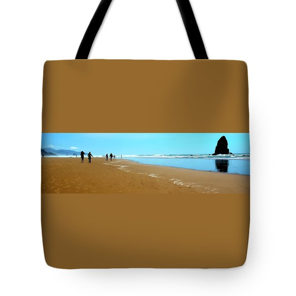 Tote Bag featuring the photograph Beach Walk Wide by Jerry Sodorff