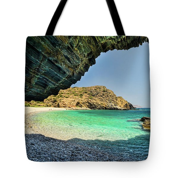 Almiro Beach With Cave Tote Bag