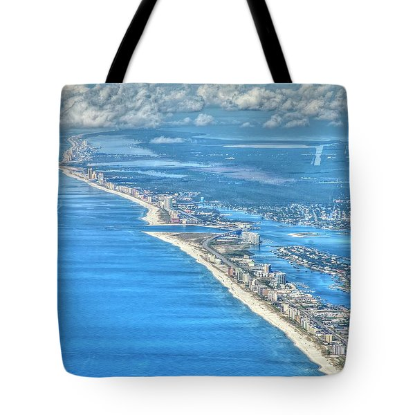 Tote Bag featuring the photograph Beachmiles-5137-tonemapped by Gulf Coast Aerials -