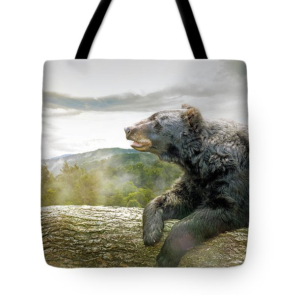 Bear In Tree At Smoky Mountains Park Tote Bag
