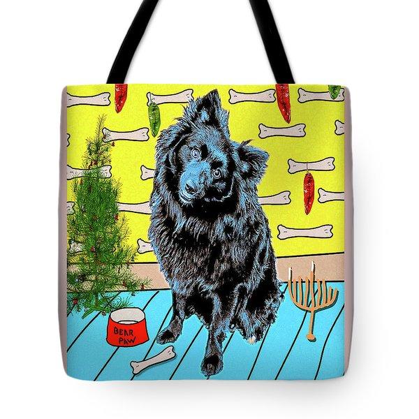 Bear Paw Holiday Tote Bag