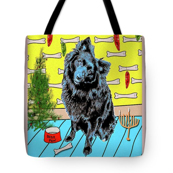 Bear Paw Holiday Tote Bag