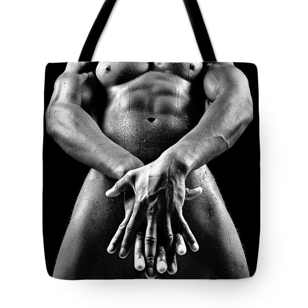 Beautiful Man Nude Or Naked With Great Sexy Body. Image In Black And White Tote Bag