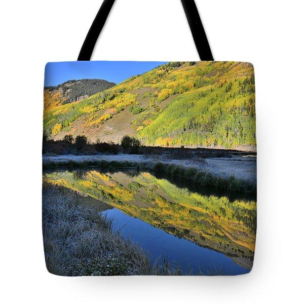 Beautiful Mirror Image On Crystal Lake Tote Bag