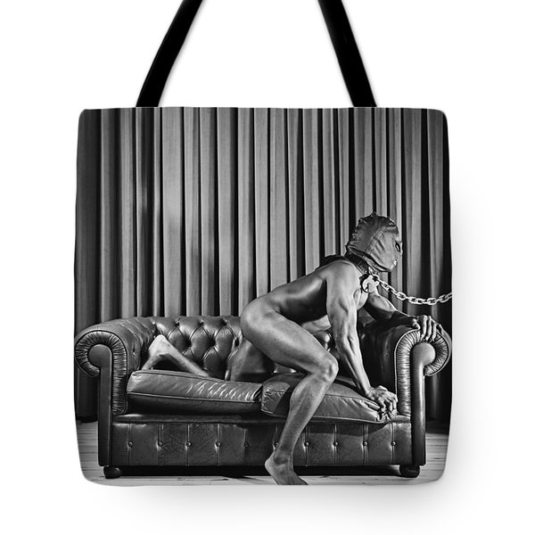 Beautiful Naked Man With Mask Posing On A Sofa Tote Bag