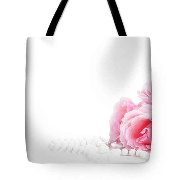 Beautiful Pastel Pink Roses Bunch And Elegant Bridal Pearls Isol Tote Bag