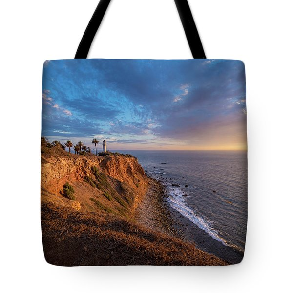 Tote Bag featuring the photograph Beautiful Point Vicente Lighthouse At Sunset by Andy Konieczny