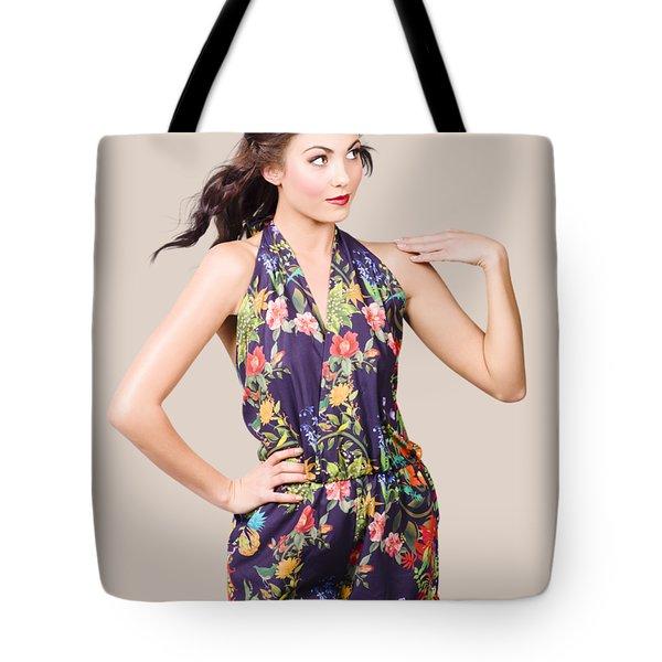 Beautiful Retro Model In Sleeveless Retro Fashion Tote Bag