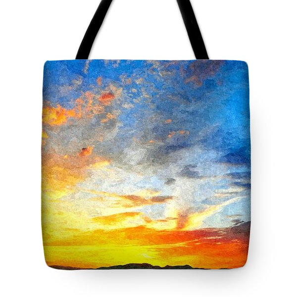 Beautiful Sunset In Landscape In Nature With Warm Sky, Digital A Tote Bag