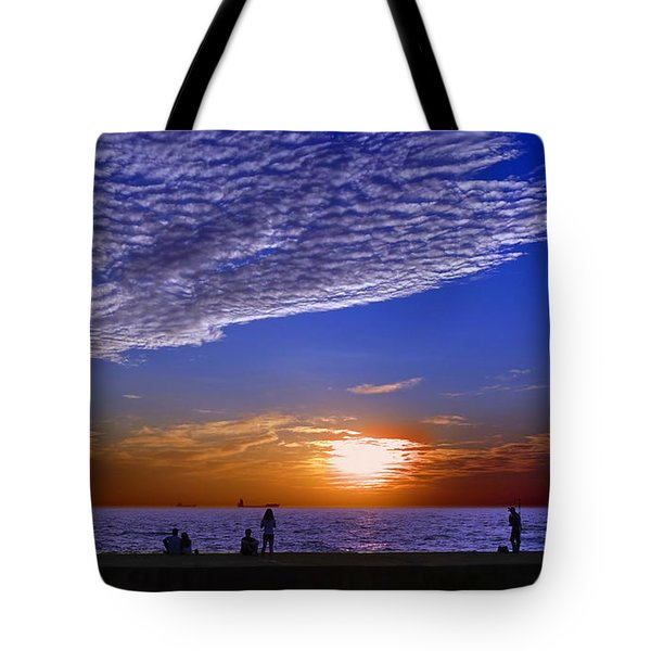 Beautiful Sunset With Ships And People Tote Bag