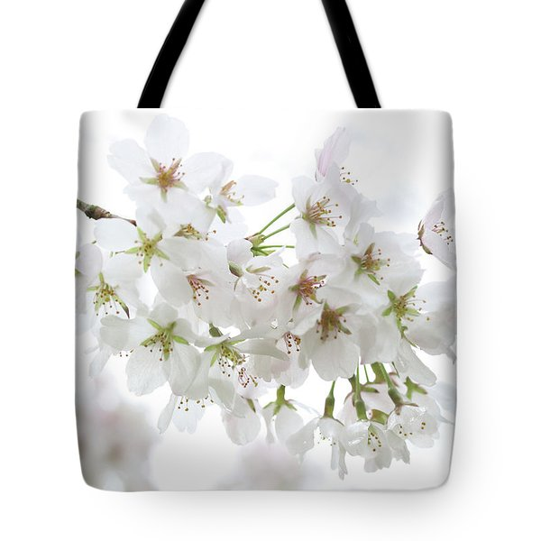 Beautiful White Cherry Blossoms Tote Bag