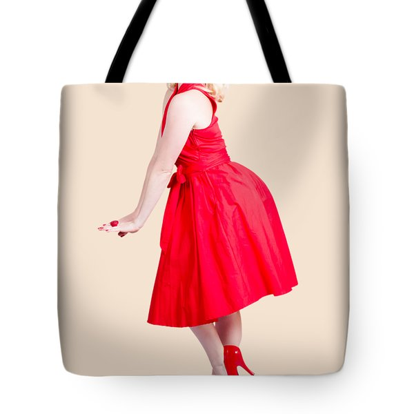 Beautiful Woman Model In Red Dress And High Heels Tote Bag