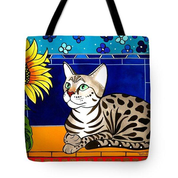 Beauty In Bloom - Savannah Cat Painting Tote Bag