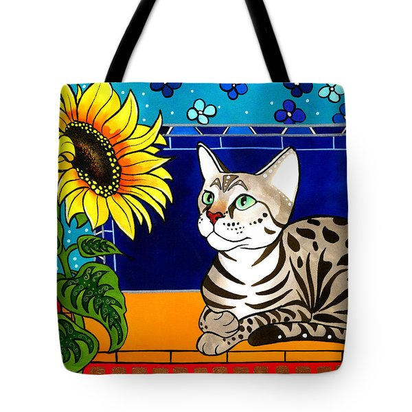 Beauty In Bloom - Savannah Cat Painting Tote Bag