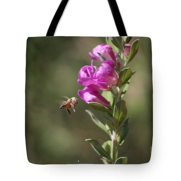 Bee Flying Towards Ultra Violet Texas Ranger Flower Tote Bag