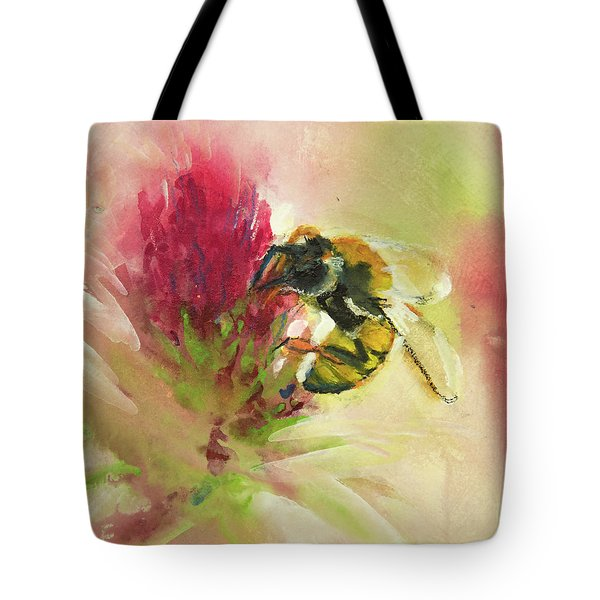 Bee On Clover Tote Bag