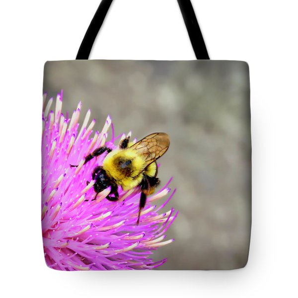 Bee On Pink Bull Thistle Tote Bag