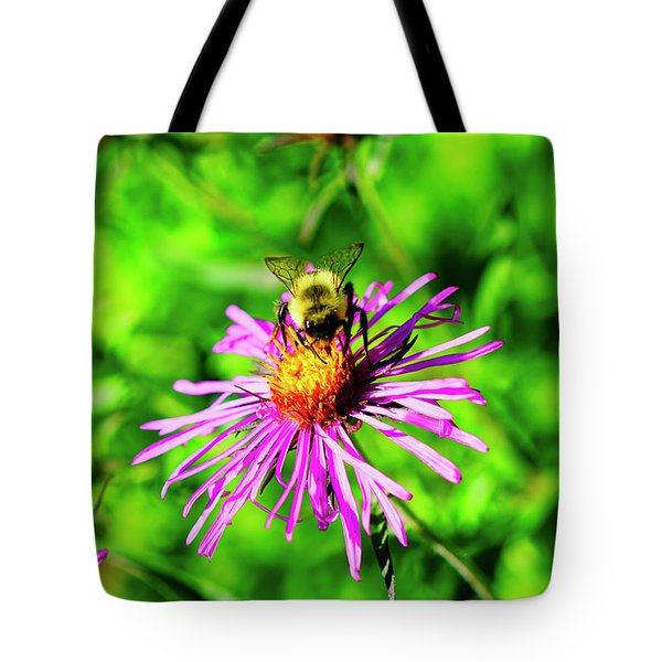 Tote Bag featuring the photograph Bee On Pink Flower by Meta Gatschenberger