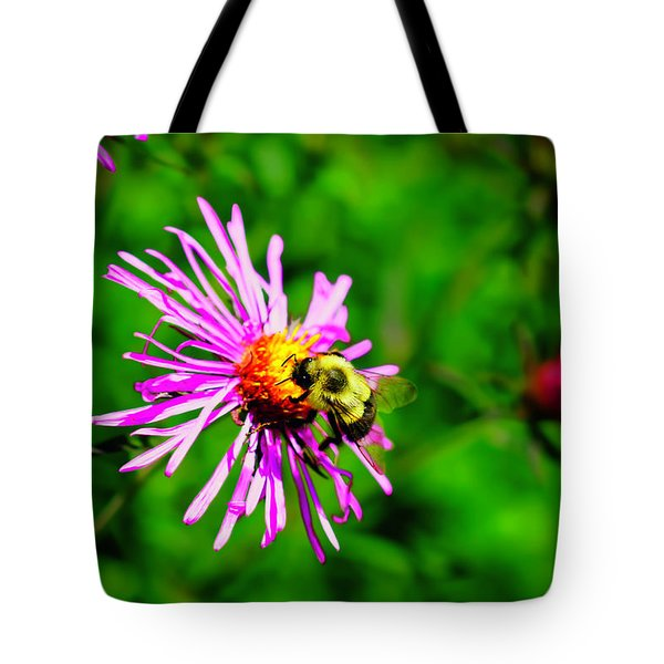 Tote Bag featuring the photograph Bee On Purple Flower by Meta Gatschenberger