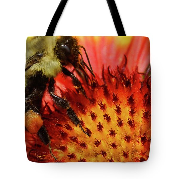 Bee Red Flower Tote Bag