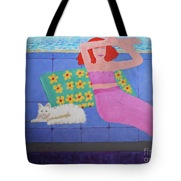 A Woman And Ralph Her Cat Tote Bag