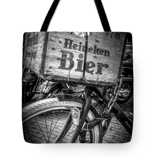 Beer Bike In Black And White Tote Bag