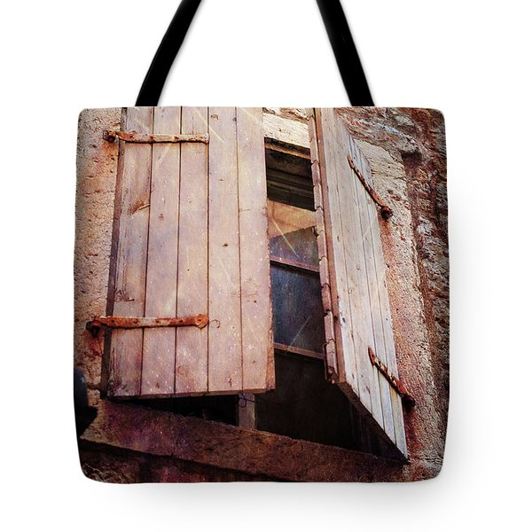 Tote Bag featuring the photograph Behind Shutters by Randi Grace Nilsberg
