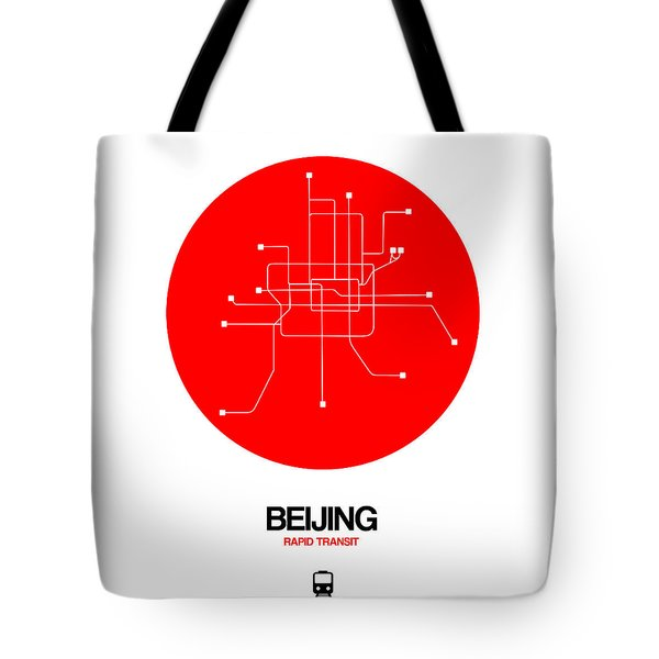 Beijing Red Subway Map Tote Bag