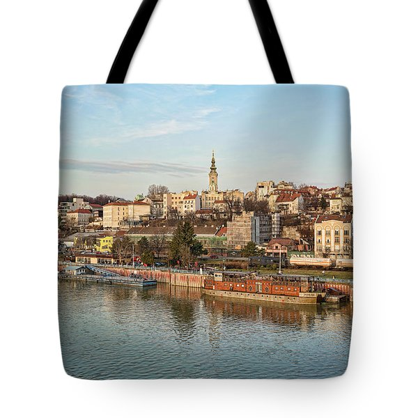 Tote Bag featuring the photograph Belgrade Cityscape by Milan Ljubisavljevic